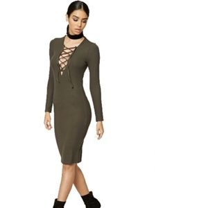 Forever 21 | Olive Green Lace Up Bodycon Dress